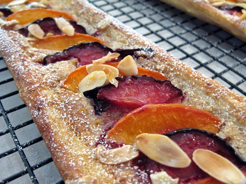 pluot and aprium tart with frangipane