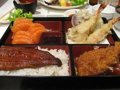 Deluxe Dinner Bento Box (aptronym) Tags: food sashimi sydney salmon prawns japaneserestaurant japanesefood tempura eel sakae unagi bentobox tonkatsu salmonsashimi unagu