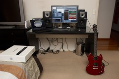 Home studio / bedroom. (Nick Triantafillou) Tags: dell epiphone alesis cubase wii guitarrig macbook