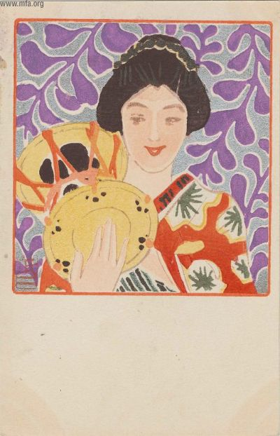 Fujishima Takeji, Maiko and Drum from the series Beautiful Women and Music (Bijin to onkyoku) 1905