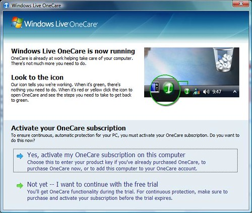 Windows Live OneCare Activation screen