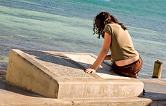 Girl at Southernmost Point (key lime pie yumyum) Tags: ocean sea water girl delete5 delete2 gulf delete6 delete7 save3 delete3 save7 save8 delete delete4 save save2 save9 save4 serene save5 save10 keywest save6 contemplative southernmostpoint southernmost savedbythedeletemeuncensoredgroup