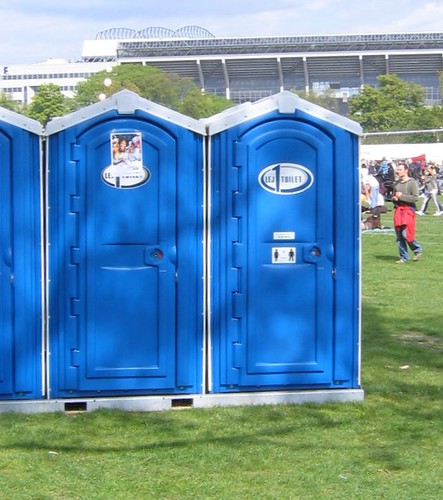 Mobile toilet in a park