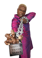 Angelique Kidjo for Make Trade Fair (allispossible.org.uk) Tags: musician celebrity make musiker purple lock protest magenta fair chain benin trade padlock campaign fairtrade oxfam angelique kidjo