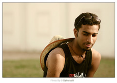 Thinking of you ,, (Nasser Bouhadoud) Tags: portrait man me canon 350d looking you thinking nasser qatar saher  of allil