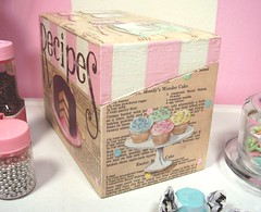 "vintage baking""recipes"" collage box (holiday_jenny) Tags: wood pink original art kitchen cake collage sepia vintage painting recipe book cupcakes baking acrylic pages box handmade chocolate mixedmedia stripes retro ephemera polkadots sprinkles handpainted recipes"