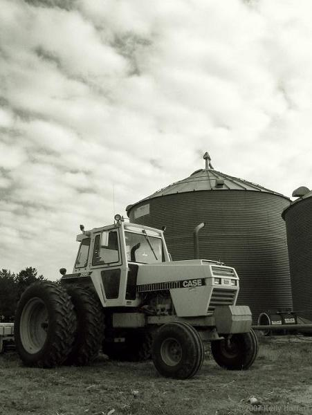 Case Tractor and Grain Bins