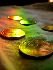 Coins (BlakJakDavy) Tags: life light stilllife money reflection still rainbow coin europe european coins euro prism cash refraction change currency euros coinage eurodollar