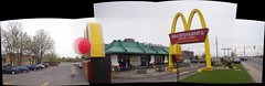 Merivale McDonald's on McHappy Day. (Steve Brandon) Tags: autostitch panorama ontario canada cars sign balloons logo geotagged restaurant widescreen ottawa fastfood frenchfries mcdonalds cheeseburger hamburger drivethru signage suburb autos bigmac nepean suv bestbuy  toysrus automobiles drivethrough goldenarches voitures mcdo futureshop franchise  chickenmcnuggets mchappyday mcdrive  eggmcmuffin mickeyds  gmcenvoy merivaleroad sportsutilityvehicle merivalerd ruemerivale   1069fmthebear may9th2007