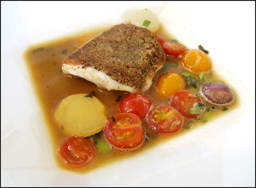 Jean Georges (New York) - Black Bass Crusted w/ Nuts & Seeds, Sweet & Sour Jus