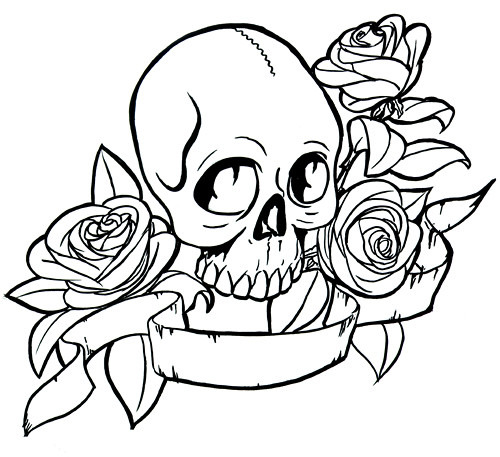 Comments: Custom black and gray realistic crow skull and rose tattoo.