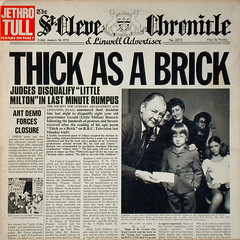 Thick As A Brick (epiclectic) Tags: music records art classic rock vintage newspaper artwork personal album memories vinyl favorites retro collection jacket cover lp record 1972 sleeve soundtrack recordings sleeves redux jethrotull epiclectic safesafe
