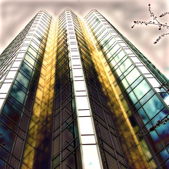 Fool's Gold (ecstaticist) Tags: blue urban texture glass architecture vancouver skyscraper photoshop gold angle perspective verticality hirise aetherize