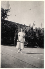 vintage: young woman, tennis