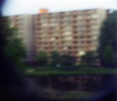 view from the balcony (greenchartreuse) Tags: building film water analog 35mm view flat availablelight grain lofi thenetherlands minimal pinhole appartment apeldoorn zevenhuizen lowfi kodak200 worldpinholeday kidzlabs seriouslyoutoffocus worldpinholeday2007 pineholephotography ithinkthepinholeneedstobesmaller