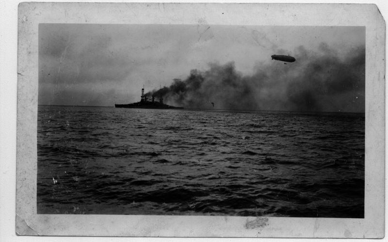 WWI Ship & Zeppelin. This could be either the USS Michigan or South Carolina.