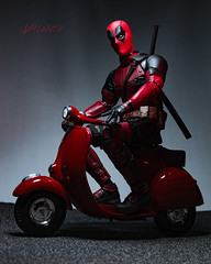 Deadpool: Red Scooter of Death (Dennis Valente) Tags: deadpool 5dsr doll marvel actionfigurephotography actionfigure posed 2016 articulating ryanreynolds playscale hdr sixthscalephotography mercwithamouth hottoys vespa moped articulated 32bit scooter toyphotography isobracketing toy sixthscale toys posable