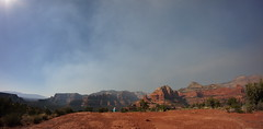 smoke (rovingmagpie) Tags: arizona sedona mescalmountain pithouse mundsparkfire smoke fire desertforests df2016 boyntoncanyon bearmountain pinkhat kani