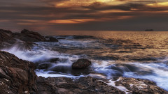 Rocks and sea (Enrico Cusinatti) Tags: acqua clouds cielo cloud enricocusinatti italy italia liguria mare nuvole nubi orizzonte rocks rocce sea sky sunset scogli travel tramonto viaggi