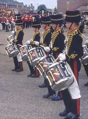 Another evenings scans Colchester search light tattoo + Cavalry Barracks 1980' s colour photo's by Alf Jefferies (Photos by Alf Jefferies) Tags: soldiers cadets military tattoo colchester photos by alf jefferies search light drummers pipers castle park cavalry barracks 1982 colour vintage pics motorcycle riders team bands horses marching