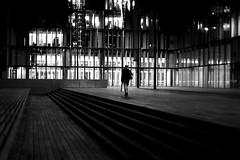 In front of lights (pascalcolin1) Tags: paris13 nuit night bnf femme woman lumières lights photoderue streetview urbanarte noiretblanc blackandwhite photopascalcolin