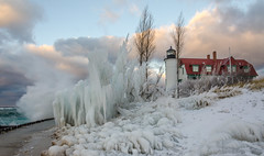 Ice Maker (Aaron Springer) Tags: michigan northernmichigan lakemichigan thegreatlakes pointbetsie pointbetsielighthouse ice iceformations snow wave water clouds lighthouse storm winter december outdoor nature landscape