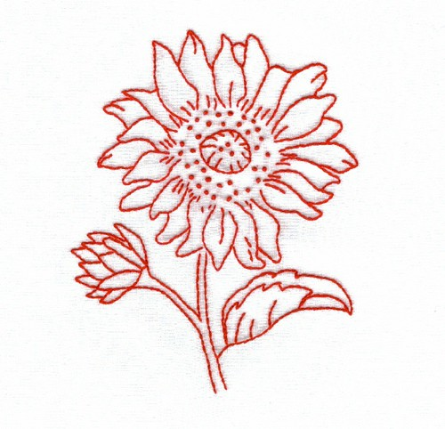 Redwork Sunflower
