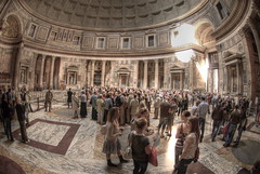Crowd inside Pantheon