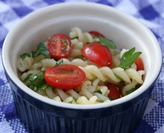 Fusilli Tossed With Garlic, Parsley, Cherry Tomatoes And Parmesan