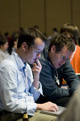 Andrew Turner & Mikel Maron hacking on something before Web2.0 Expo Ignite