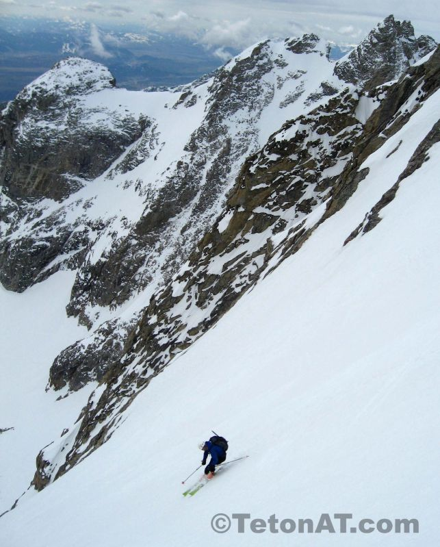 Brian Ladd skis the Ellingwood Couloir on the Middle Teton