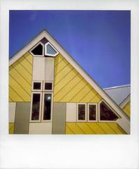 cube (heavenuphere) Tags: reflection me window netherlands architecture polaroid rotterdam europe zuidholland cubehouses cubichouses kubuswoningen supercolor southholland pietblom 670af