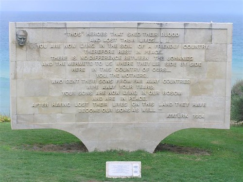 Attaturk's words on a plaque in Gallipoli