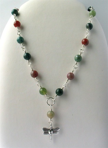 Fancy jasper silver necklace