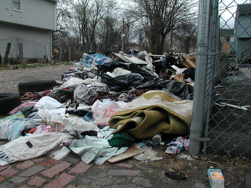 A pile of litter on Old Hill's Orleans Street. Photo by H Brandon
