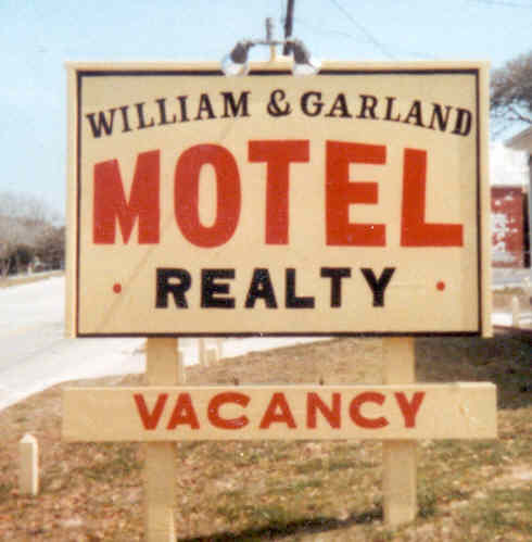 WILLIAM AND GARLAND MOTEL SIGN