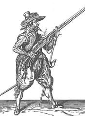 Musketeer after firing (Jacob de Gheyn)