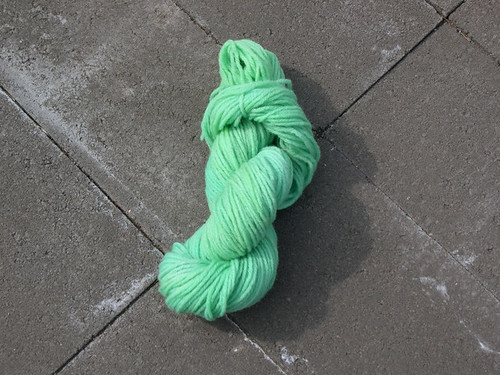 dyed yarn green