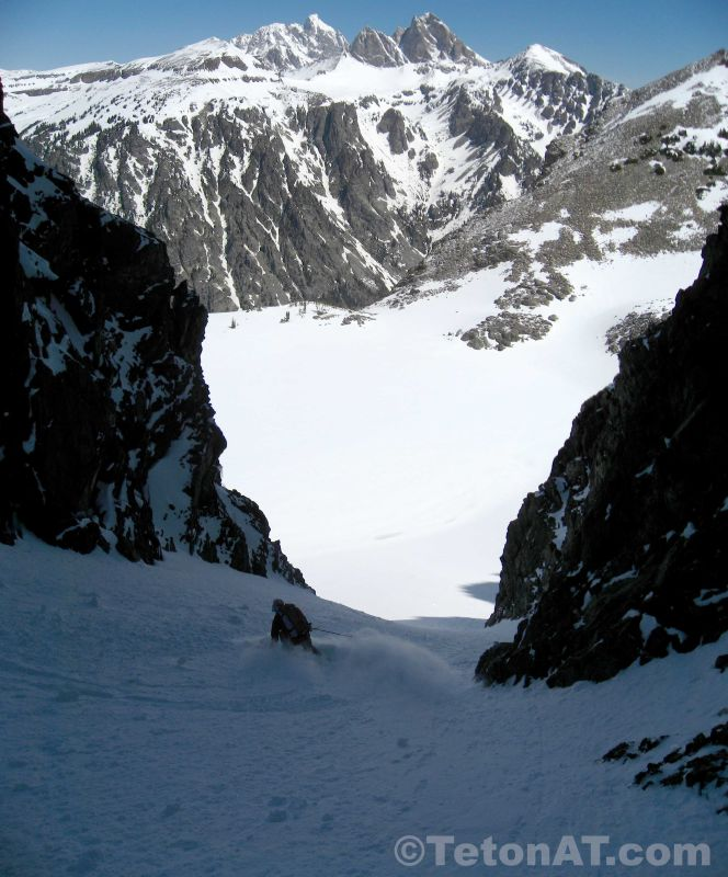 Skiing out of Rimrock Couloir