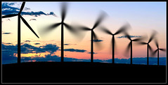 wind power (sharply_done) Tags: sunset panorama silhouette power wind dusk farm banner panoramic generators turbines sharplydone