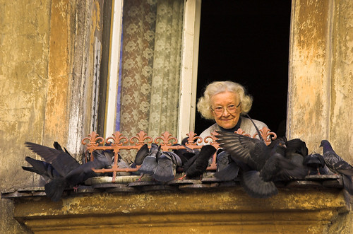 old lady in krakow, with birds