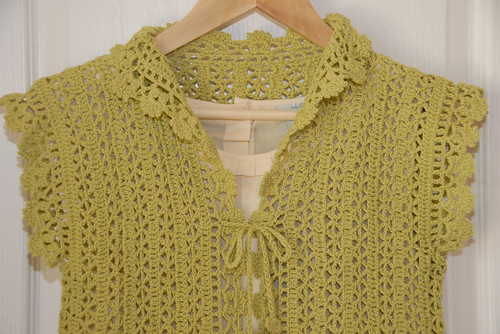 Green Crochet Bolero Closeup