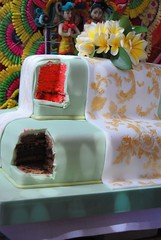 2 slices, not 1 (Farl) Tags: wedding bali colors cake indonesia rice sweet ixora tapestry sculpted nusadua balinese fondant sarad riceflour chocolateganache pantaimengiat sourcherrycake ixoracakescom