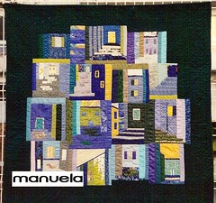 """Une colline, un soir"" (manu/manuela) Tags: blue houses windows green art architecture doors quilt textile quilting blocks patchwork manuela handquilted quiltmain"