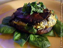 Giant Mushrooms stuffed with zucchini-mushroom & blue viened cheese