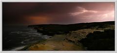 Lightning Storm #2 (down_the_rabbit_hole) Tags: ocean sea panorama seascape storm water night dark spectacular landscape coast bravo waves moody dream cliffs lightning flickrsbest 25faves abigfave anawesomeshot blackribbonbeauty tribesandhya