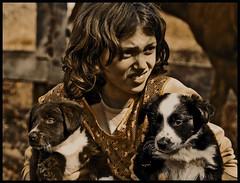 Ash with the puppies (Earlette) Tags: portrait girl sepia puppies nikon child farm daughter fluffy australia ashleigh pup raphael effect dragan blueribbonwinner d80 earlette