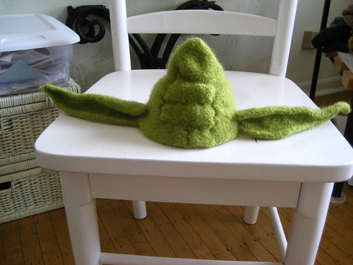 Adapted Felted Baby Yoda Hat from iamsalad