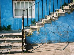 Cork steps (ciaron) Tags: blue ireland stone fuji superia cork 200 railing olympusxa