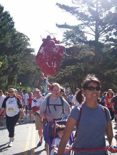 organ donor team parading with a fake human heart